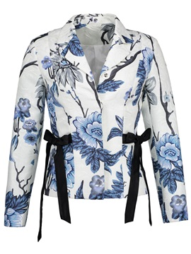 Notched Lapel Floral Print Slim Women's Jacket