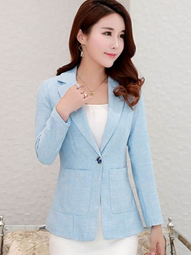 Long Sleeve One Button Pocket Women's Blazer