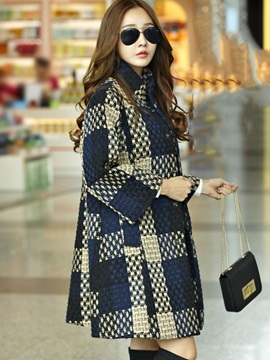 Long Hidden Button Mid-Length Women's Overcoat
