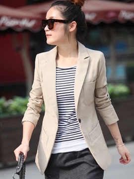 Long Sleeve Notched Lapel One Button Blazer