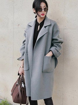 Plain Notched Lapel Loose Women's Trench Coat