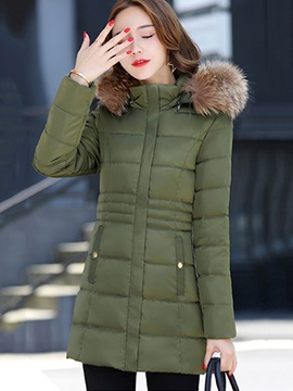 Winter Hooded Zipper Plain Tight Waist Women's Overcoat