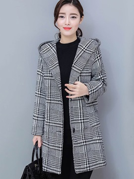 Long Sleeve Hooded Houndtooth Winter Overcoat