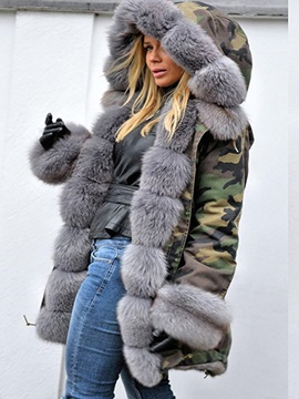 Camouflage Winter Hooded Fur Women's Overcoat
