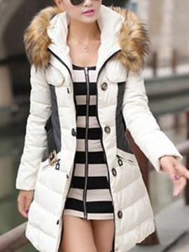 Long Sleeve Patchwork Hooded Faux Fur Women's Overcoat