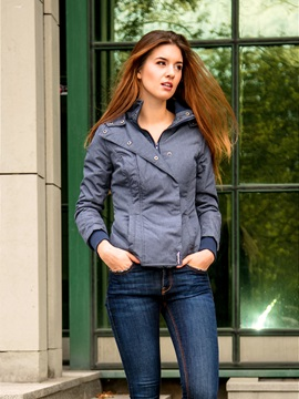 Hooded Long Sleeves Plain Slim Women's Jacket