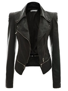 Solid Color Lapel Long-Length Short PU Jacket