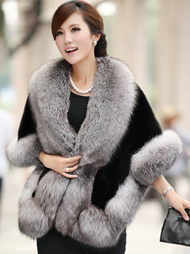 Faux Fur Patchwork Women's Cape Overcoat