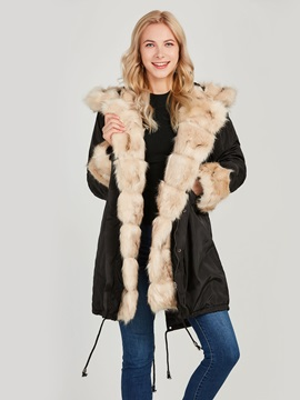 Hooded Winter Fur Patchwork Women's Overcoat
