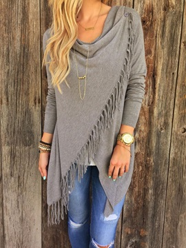 Long Sleeve Plain Winter Tassel Knitwear Top