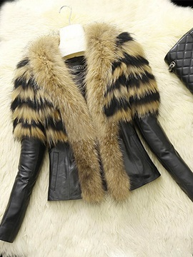 Winter Style Faux Fur Lapel PU Short Women's Jacket