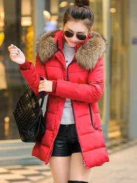 Mid-Length Big Hooded Artificial Fur Women's Overcoat