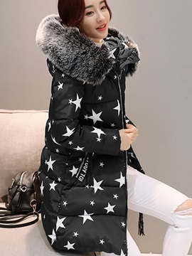 Faux Fur Long Sleeve Zipper Mid-Length Overcoat