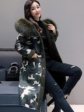 Camouflage Hooded Long Sleeve Overcoat