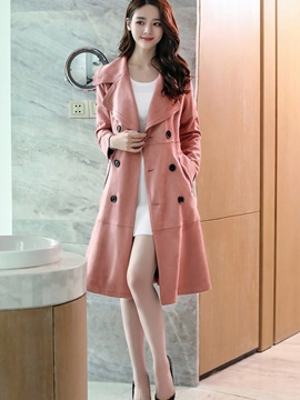 Lapel Long Sleeve Plain Thin Trench Coat
