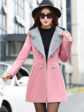Straight Long Sleeve Mid-Length Double-Breasted Overcoat