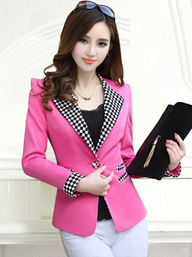 Long Sleeve One Button Patchwork Notched Lapel Blazer