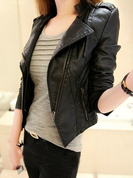 Lapel PU Zipper Slim Women's Jacket