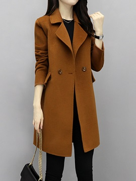 Long Sleeve Mid-Length Plain Winter Overcoat