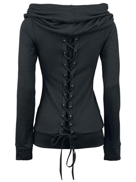 Heap Collar Lace-Up Long Sleeve Plain Hoodie