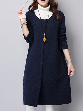 Long Sleeve Patchwork Plain Trench Coat