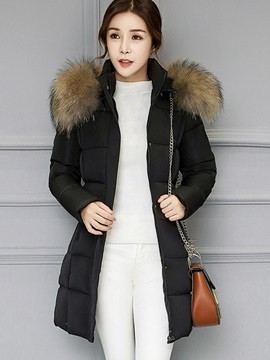 Faux Fur Hooded Mid Length Cotton Women's Overcoat
