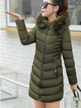 Mid Length Hooded Faux Fur Slim Fit Women's Overcoat