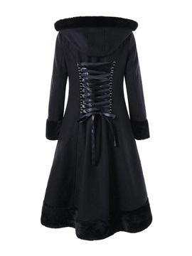 Long Fur Hooded Lace Up Winter Women's Overcoat