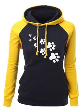Hooded Long Sleeve Patchwork Regular Hoodie