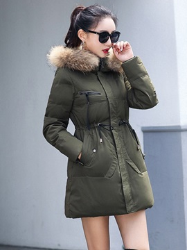 Mid-length Hooded Faux Fur Lace-Up Waist Women's Parka