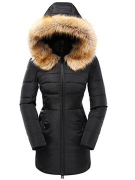 Long Sleeve Faux Fur Winter Hooded Overcoat