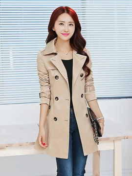 Long Sleeve Slim Mid-Length Women Trench Coat