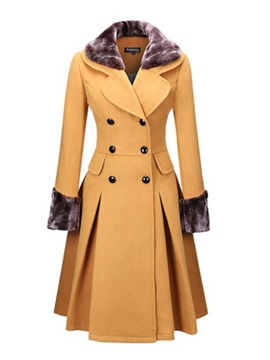 Long Sleeve Color Block Notched Lapel Overcoat