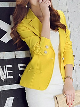 Button Slim Long Sleeve Ruffled Collar Women's Blazer