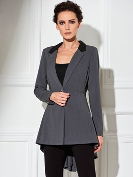 Slim Button Notched Lapel Women's Blazer