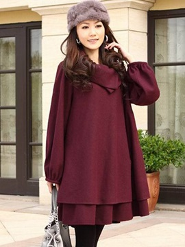 Lantern Sleeve Pocket Plain Women's Overcoat