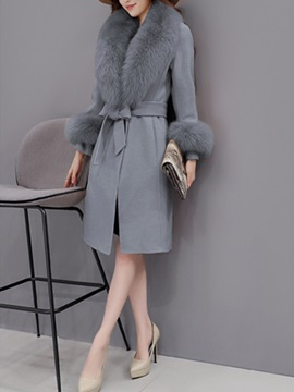 Long Sleeve Slim Belt Women's Overcoat