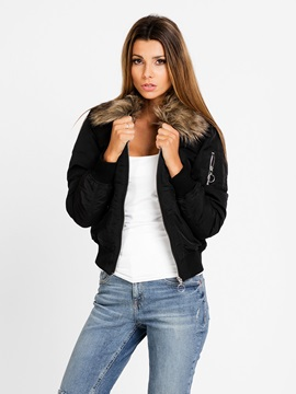 Lapel Plain Short Women's Jacket