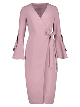 Flare Sleeve Long V-Neck Women's Trench Coat