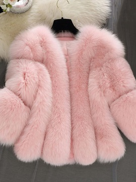 Loose Plain Thick Plain Women's Faux Fur Overcoat