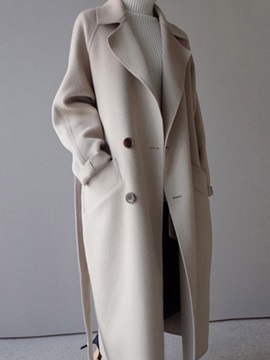 Double-Breasted Notched Lapel Women's Long Overcoat