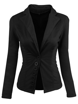 Pure Color Button Designed Women's Blazer