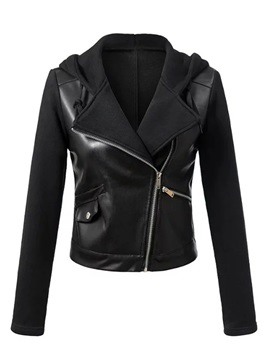 Slim Short Zip Black Hooded Women's PU Jacket