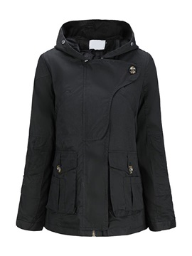 Hooded Mid-Length Pocket Women's Overcoat