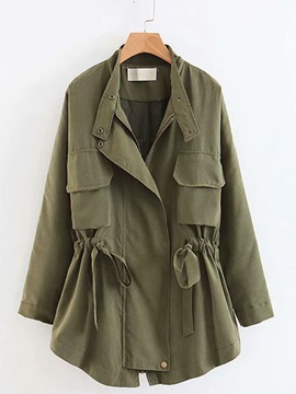 Plain Long Sleeve Pocket Women's Trench Coat