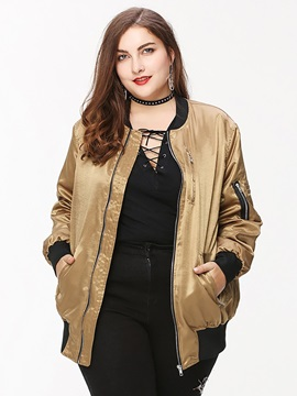 Plus Size Zip Stand Collar Women's Jacket