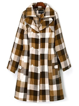 Plaid Double-Layer Double-Breasted Women's Trench Coat
