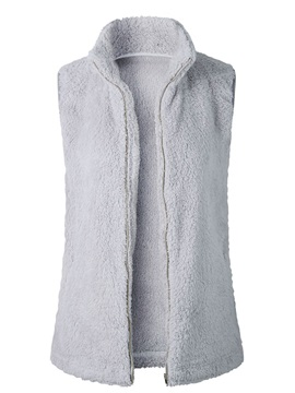 Plain Sleeveless Faux Fur Pocket Zip Women's Vest