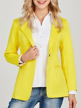 Notched Lapel Plain One Button OL Women's Blazer