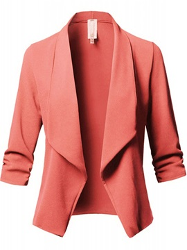 Plain Open Front Wrapped Plus Size Women's Blazer